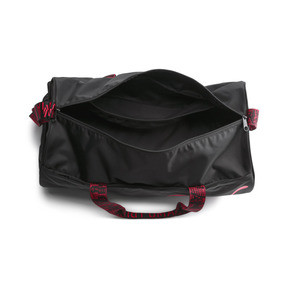 Thumbnail 4 of AT ESS Women's Training Duffel Bag, Puma Black-Pink Alert-AOP, medium