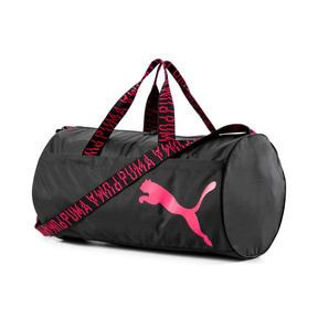 Thumbnail 1 of AT ESS Women's Training Duffel Bag, Puma Black-Pink Alert-AOP, medium