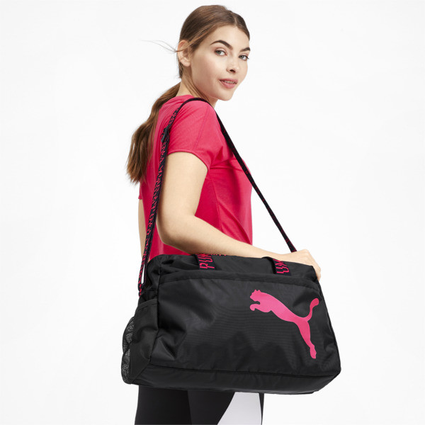 Active Training Essential Damen Henkeltasche, Puma Black-Pink Alert-AOP, large