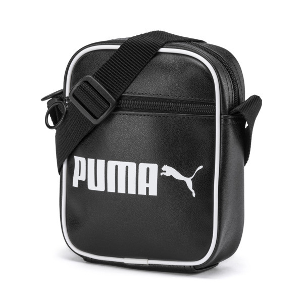 Campus Portable Retro Shoulder Bag, Puma Black, large