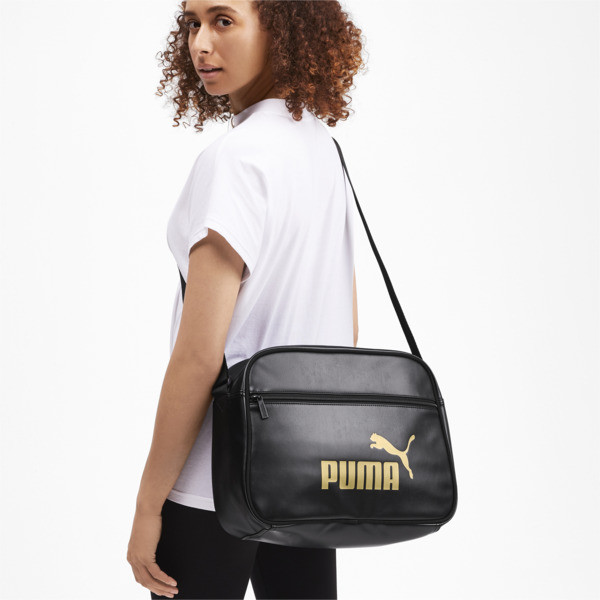 Core Up Reporter Bag, Puma Black-Gold, large