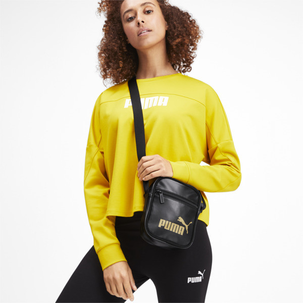 Bolso de hombro portátil de mujer Up, Puma Black-gold, grande