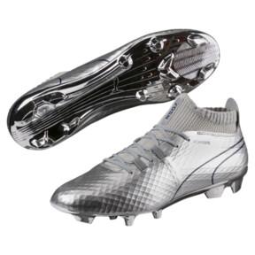 Thumbnail 2 of PUMA ONE Chrome FG Men's Soccer Cleats, Silver-Blue Depths, medium