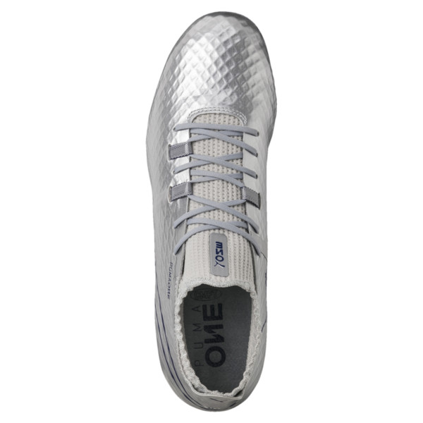 PUMA ONE Chrome FG Men's Soccer Cleats, Silver-Blue Depths, large