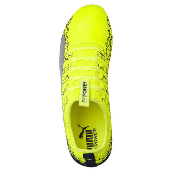 evoPOWER Vigor 1 Graphic FG Men's Firm Ground Soccer Cleats, Yellow-Silver-Blue, large