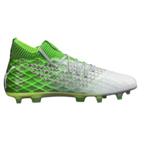 Thumbnail 3 of FUTURE 18.1 NETFIT On/Off FG/AG Men's Soccer Cleats, Green -White-Gray Violet, medium
