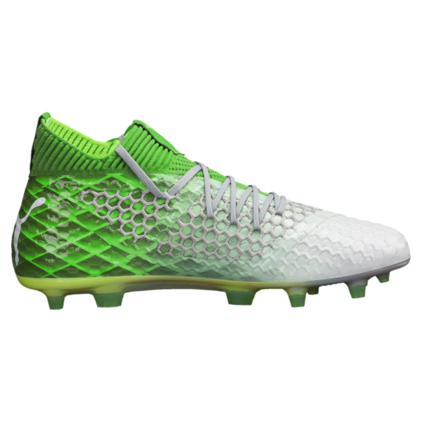 FUTURE 18.1 NETFIT On/Off FG/AG Men's Soccer Cleats, Green -White-Gray Violet, large