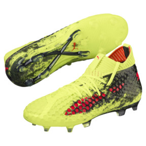 Thumbnail 2 of FUTURE 18.1 NETFIT FG/AG JR Soccer Cleats, Yellow-Red-Black, medium