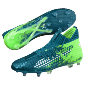 Thumbnail 2 of FUTURE 18.1 NETFIT FG/AG Men's Soccer Cleats, Deep Lagoon-White-Green, medium