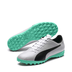 Thumbnail 2 of PUMA Spirit TT Turf Soccer Shoes, White-Black-Silver, medium