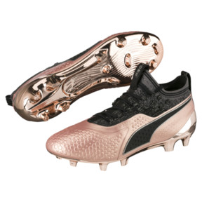 Thumbnail 2 of PUMA ONE 1 GLO FG/AG Men's Soccer Cleats, Rose Gold-Puma Black, medium