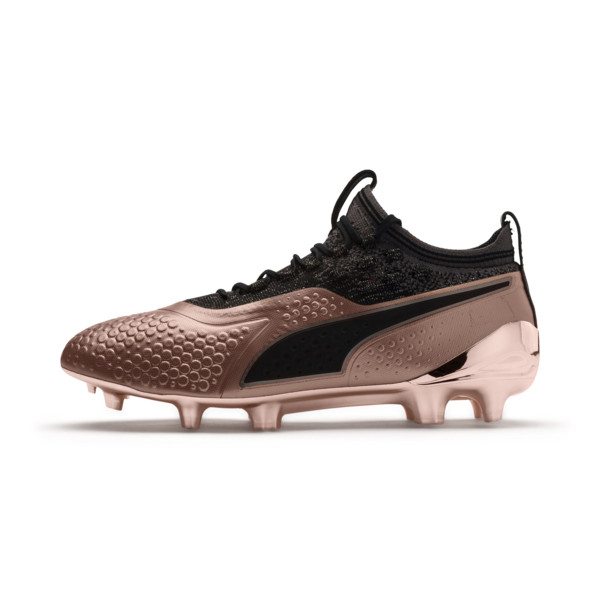 PUMA ONE 1 GLO FG/AG Men's Soccer Cleats, Rose Gold-Puma Black, large