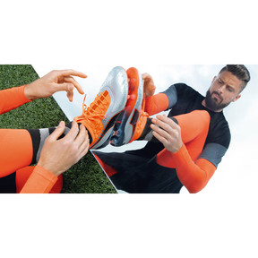 Thumbnail 6 of PUMA ONE 1 Leather FG/AG Men's Soccer Cleats, Silver-Orange-Black, medium