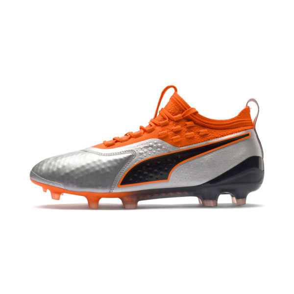 PUMA ONE 1 Leather FG/AG Men's Soccer Cleats, Silver-Orange-Black, large