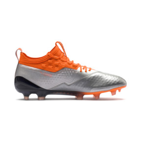Thumbnail 5 of PUMA ONE 1 Leather FG/AG Men's Soccer Cleats, Silver-Orange-Black, medium