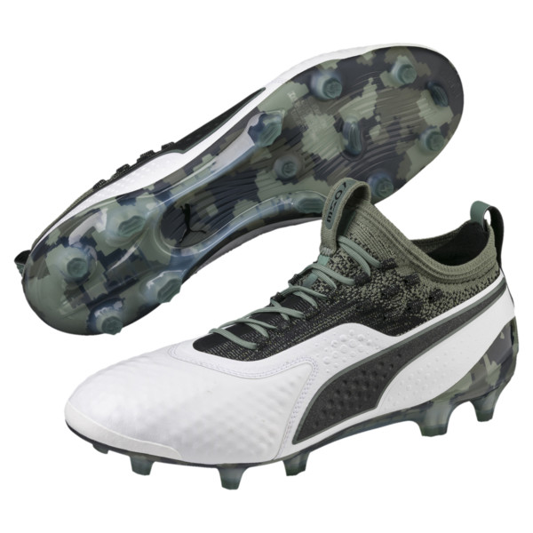 PUMA ONE 1 Leather FG/AG Men's Football Boots, White-Black-Laurel Wreath, large