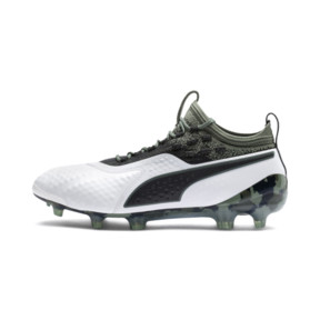 Thumbnail 1 of PUMA ONE 1 Leather FG/AG Men's Football Boots, White-Black-Laurel Wreath, medium
