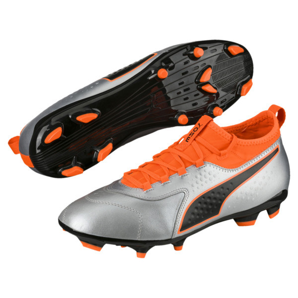 PUMA ONE 3 Leather FG Men's Soccer Cleats, Silver-Orange-Black, large