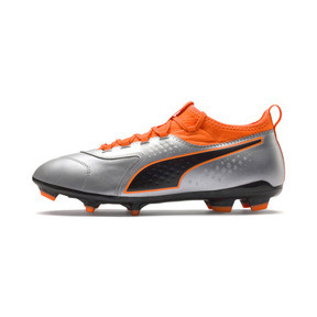 Thumbnail 1 of PUMA ONE 3 Leather FG Men's Soccer Cleats, Silver-Orange-Black, medium