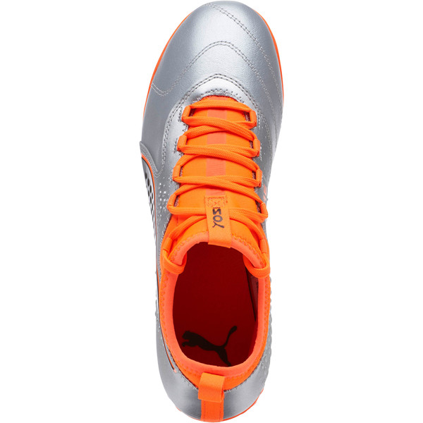 PUMA ONE 3 Lth TT Men's Soccer Cleats, Silver-Orange-Black, large