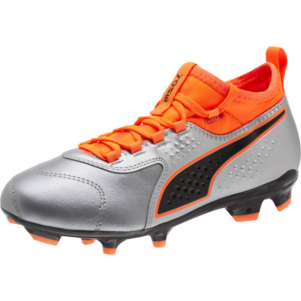 PUMA ONE 3 FG Soccer Cleats JR, Silver-Orange-Black, large