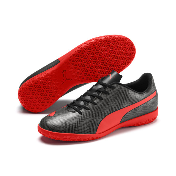 Rapido IT Men's Soccer Shoes, Black-Nrgy Red-Aged Silver, large