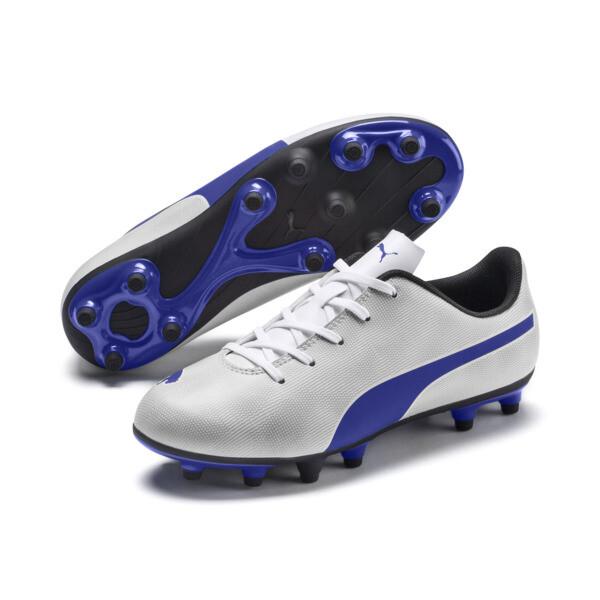 Rapido FG Boy's Soccer Cleats JR, White-Royal Blue-Light Gray, large