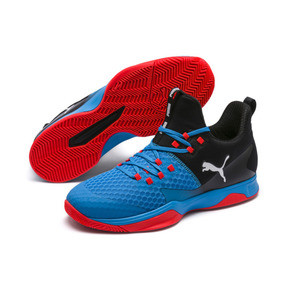 Thumbnail 2 of Rise XT 3 Indoor Teamsport Shoes, Bleu Azur-Red Blast-Black, medium