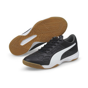 Thumbnail 2 of Tenaz Indoor Teamsport Shoes, Black-White-Iron Gate-Gum, medium