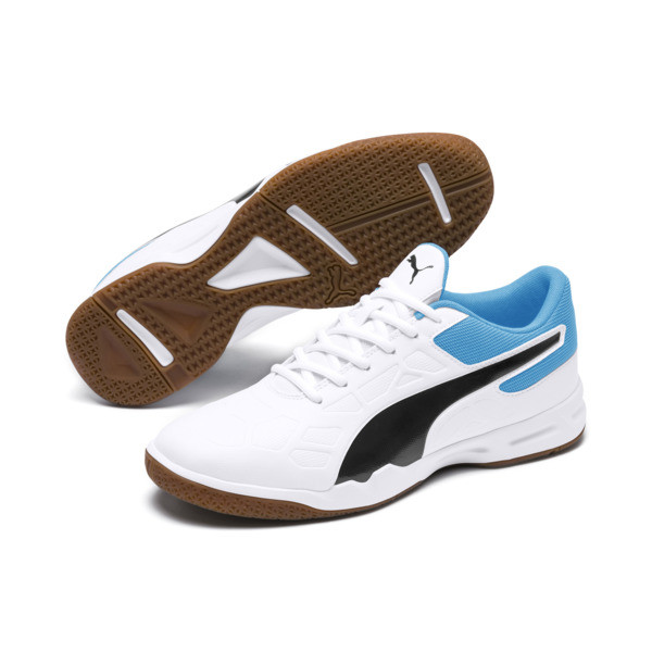 Tenaz Indoor Teamsport Shoes, White-Black-Bleu Azur-Gum, large