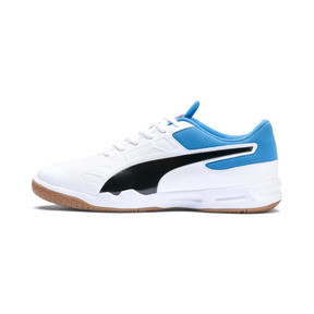 Thumbnail 1 of Tenaz Indoor Teamsport Shoes, White-Black-Bleu Azur-Gum, medium