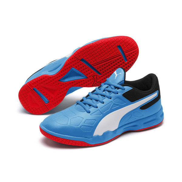 Tenaz Indoor Teamsport Shoes, Bleu Azur-White-Black-Red, large