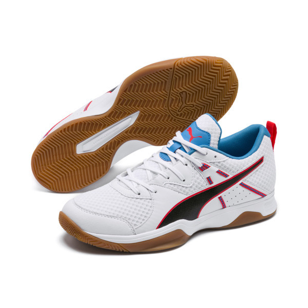PUMA Stoker.18 Indoor Training Shoes, White-Black-Red-Bleu-Gum, large
