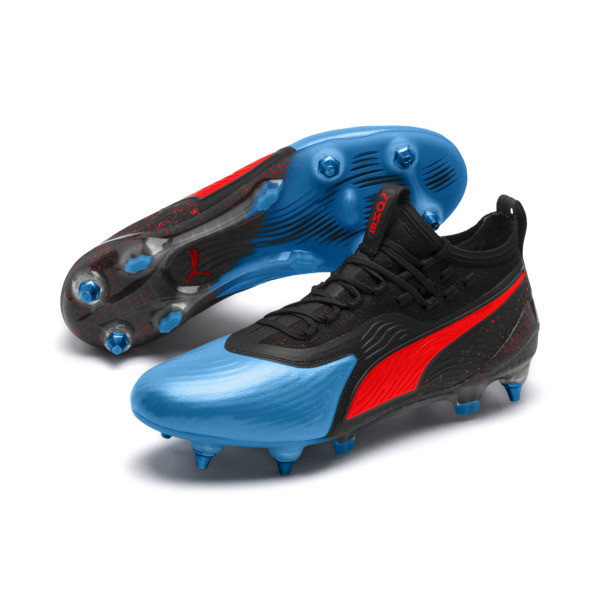 PUMA ONE 19.1 evoKNIT SG Men's Football Boots, Bleu Azur-Red Blast-Black, large