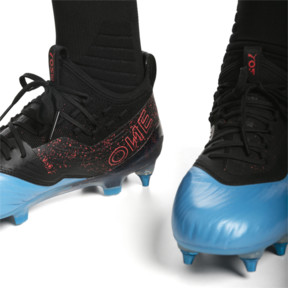 Thumbnail 3 of PUMA ONE 19.1 evoKNIT SG Men's Football Boots, Bleu Azur-Red Blast-Black, medium