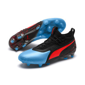 Thumbnail 3 of PUMA ONE 19.1 evoKNIT FG/AG Men's Football Boots, Bleu Azur-Red Blast-Black, medium