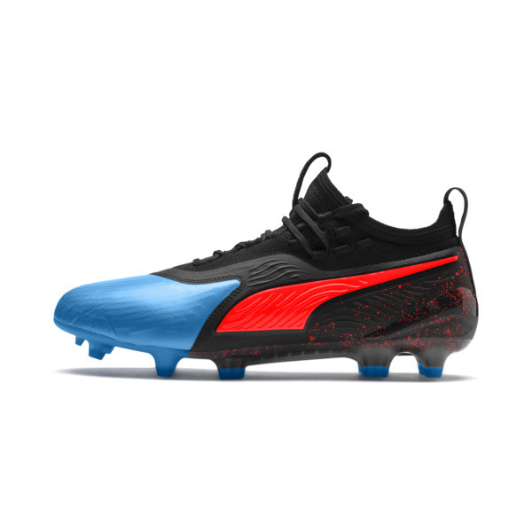 PUMA ONE 19.1 evoKNIT FG/AG Men's Football Boots, Bleu Azur-Red Blast-Black, large