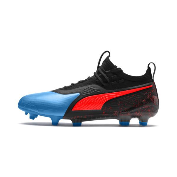 PUMA ONE 19.1 FG/AG Men's Soccer Cleats, Bleu Azur-Red Blast-Black, large