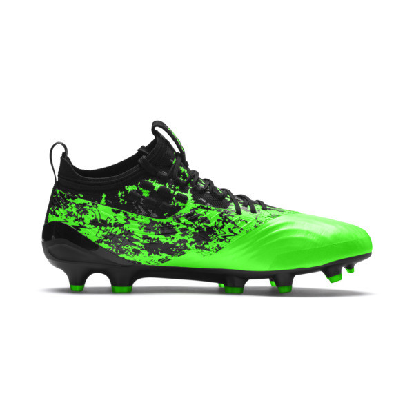 PUMA ONE 19.1 FG/AG Men's Soccer Cleats, Green Gecko-Black-Gray, large