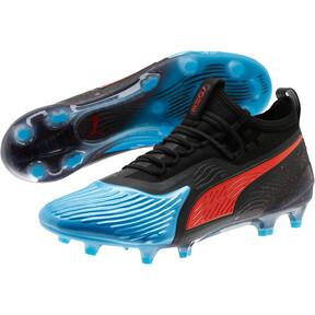 Thumbnail 2 of PUMA ONE 19.1 SYN FG/AG Men's Soccer Cleats, Bleu Azur-Red Blast-Black, medium