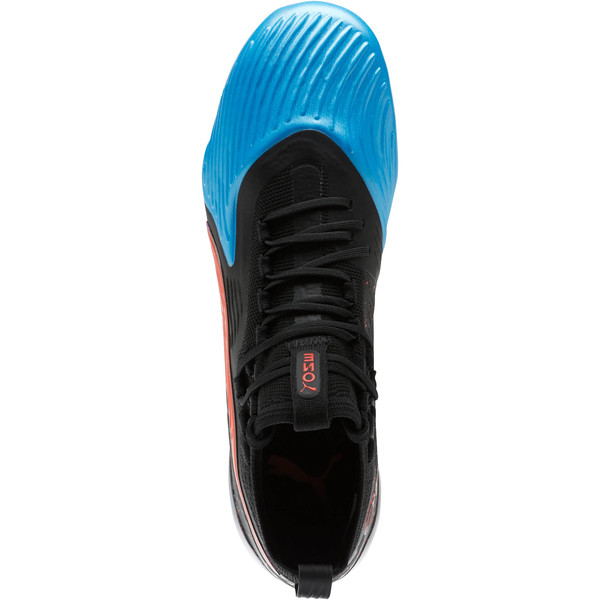 PUMA ONE 19.1 SYN FG/AG Men's Soccer Cleats, Bleu Azur-Red Blast-Black, large