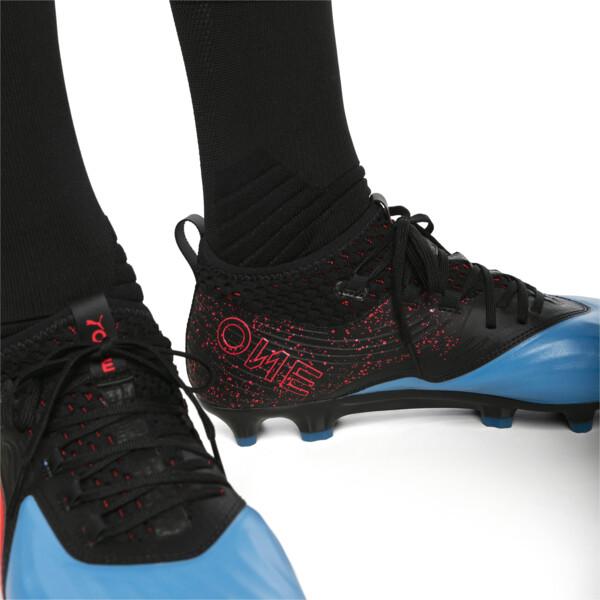 Chaussure de foot PUMA ONE 19.2 FG/AG pour homme, Bleu Azur-Red Blast-Black, large
