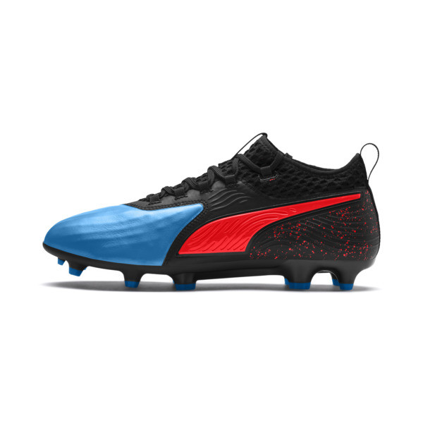PUMA ONE 19.2 FG/AG Herren Fußballschuhe, Bleu Azur-Red Blast-Black, large