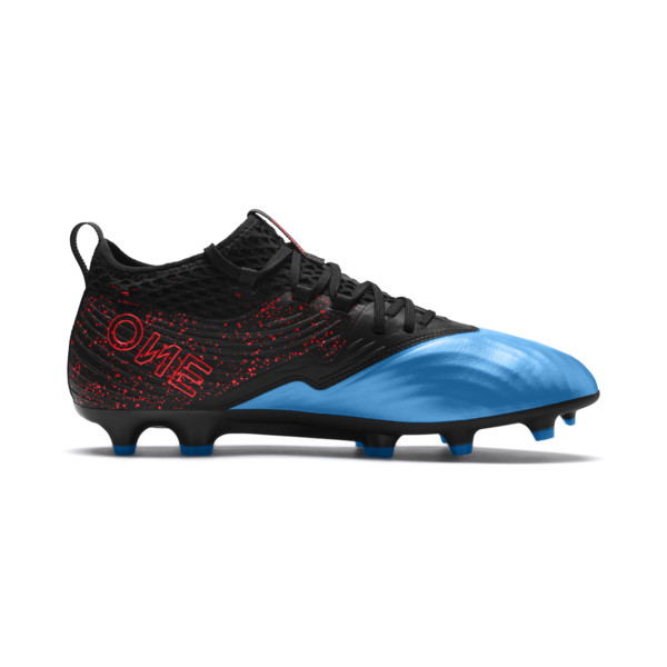 PUMA ONE 19.2 FG/AG Men's Football Boots, Bleu Azur-Red Blast-Black, large