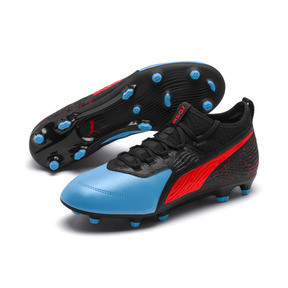 Thumbnail 2 of PUMA ONE 19.3 FG/AG Men's Football Boots, Bleu Azur-Red Blast-Black, medium