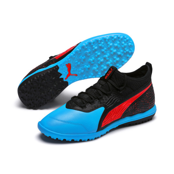 PUMA ONE 19.3 TT Men's Football Boots, Bleu Azur-Red Blast-Black, large
