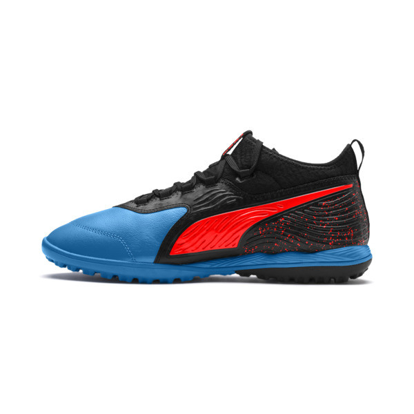 PUMA ONE 19.3 TT Men's Soccer Shoes, Bleu Azur-Red Blast-Black, large