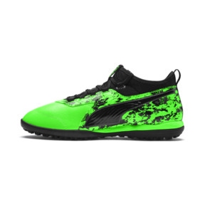 Thumbnail 1 of PUMA ONE 19.3 TT Men's Soccer Shoes, Green Gecko-Black-Gray, medium