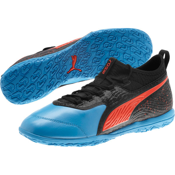 PUMA ONE 19.3 IT Men's Soccer Shoes, Bleu Azur-Red Blast-Black, large