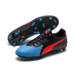 Thumbnail 2 of PUMA ONE 19.4 FG/AG Men's Football Boots, Bleu Azur-Red Blast-Black, medium